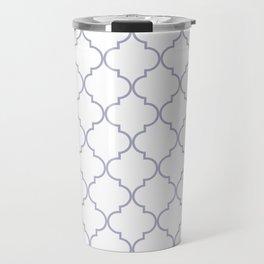 Quatrefoil - white and silver Travel Mug