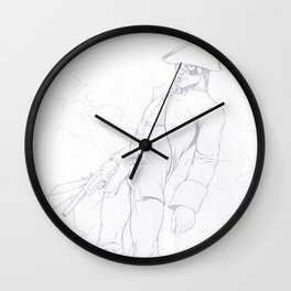 Dick Turpin pencil art Wall Clock