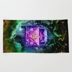 galaxy vintage voyager world map design 1 Beach Towel