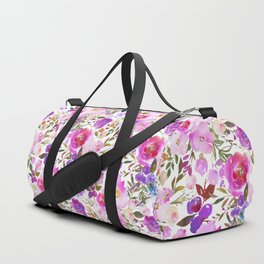 Elegant blush pink violet lavender watercolor summer floral Duffle Bag