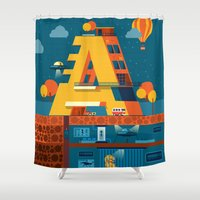 building Shower Curtains featuring A Building by Orkha