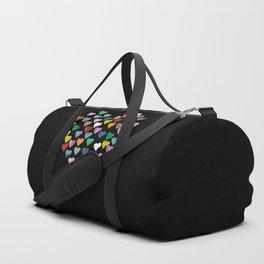 Distressed Hearts Heart Black Duffle Bag
