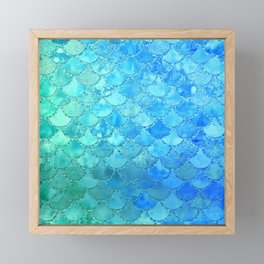 Summer Dream Colorful Trendy Mermaid Scales Framed Mini Art Print