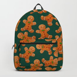 Forest green brown red christmas ginger bread man Backpack