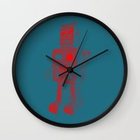robot Wall Clocks featuring ROBOT by Charlotte Dandy