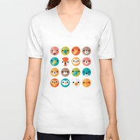 faces V-neck T-shirts featuring SMILEY FACES 1 by Daisy Beatrice