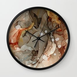 Abstract Ink - Earth Tones Gold Wall Clock
