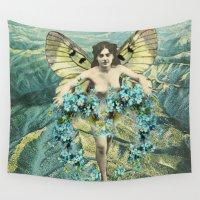 valentine Wall Tapestries featuring BLUE VALENTINE by Julia Lillard Art
