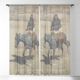 "Frederic Remington Western Art ""Apache Scout"" Sheer Curtain"