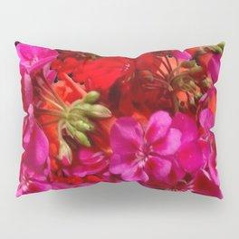 Fuchsia & Red Geraniums Floral Garden Art Pillow Sham