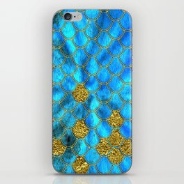 Blue Aqua Turquoise And Gold Glitter Mermaid Scales -Beautiful Mermaidscales Pattern iPhone Skin