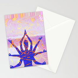 Kali Goddess Sunset Landscape with Tribal Glitch Pattern Stationery Cards