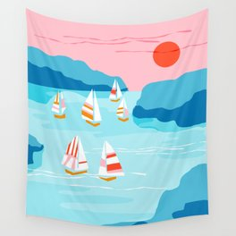 Tight - memphis throwback retro vintage classic sport boating yachting sailboat harbor sea ocean art Wall Tapestry