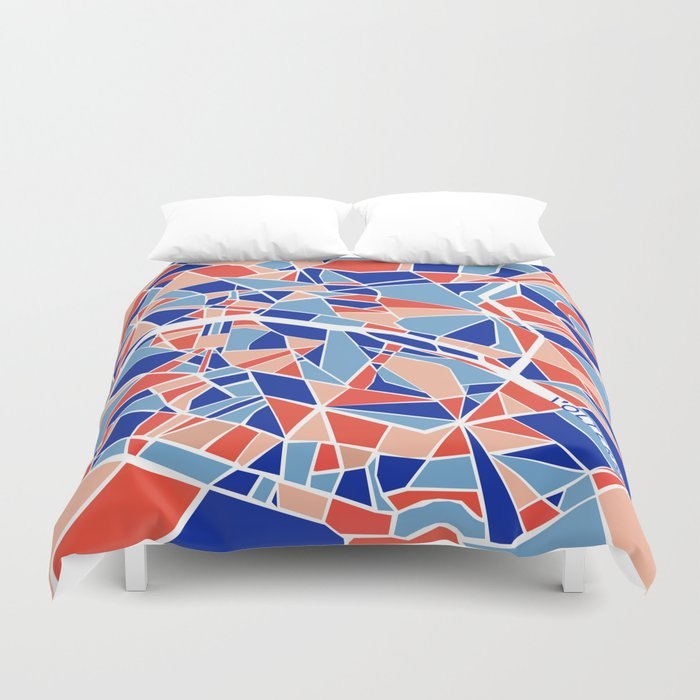 Paris Mosaic Map Duvet Cover