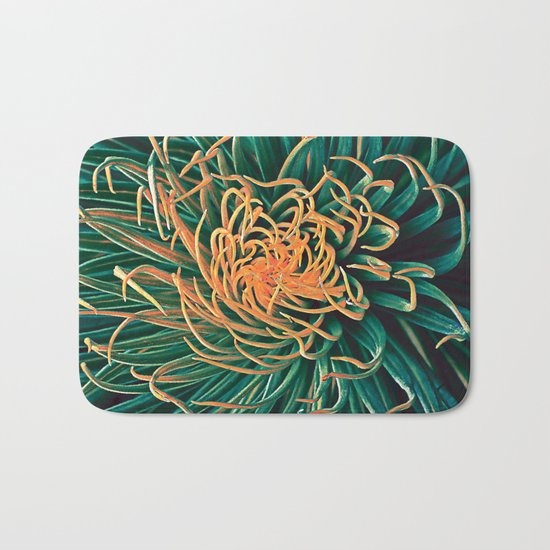 Green & orange succulent Bath Mat