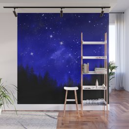 Blue Galaxy Forest Night Sky Wall Mural