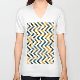 Chevron Oranges and Ink - Geometric Pattern Unisex V-Neck