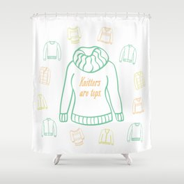 Knitters Are Tops - Pastel Shower Curtain