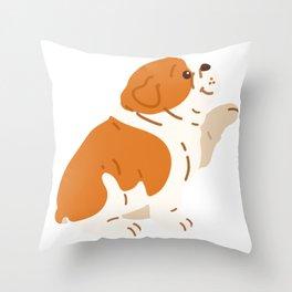 Brown / White colored English Bulldog shaking hand Throw Pillow