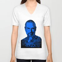 steve jobs V-neck T-shirts featuring Steve Jobs blue by Rebecca Bear