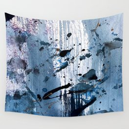 Breathe [6]: colorful abstract in black, blue, purple, gold and white Wall Tapestry