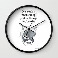 dc comics Wall Clocks featuring DC Comics Dotwork Print by RLDrawings