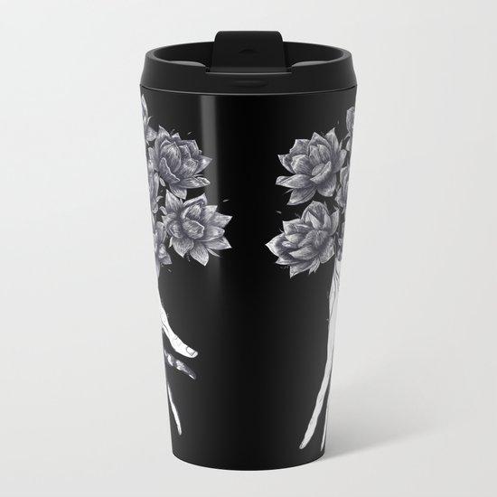 Hand with lotuses on black Metal Travel Mug
