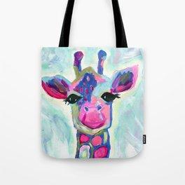 Giraffe Painting, Colorful Blue Giraffe, Magenta Green Blue Giraffe Tote Bag
