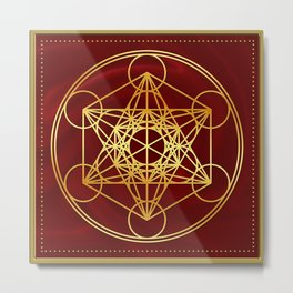 Metatrons Cube, Flower of life, Sacred Geometry Metal Print