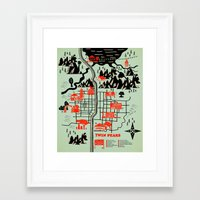 map Framed Art Prints featuring Twin Peaks Map by Robert Farkas