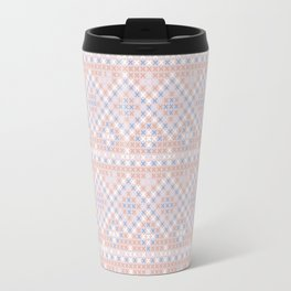 Vintage blush pink blue white cross stitch pattern Travel Mug