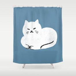 Comfy Cat WarmBlue Shower Curtain
