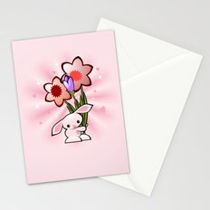 Little Pink Bunny With Flowers Stationery Cards