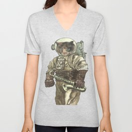 Space Cat with Saxophone Unisex V-Neck