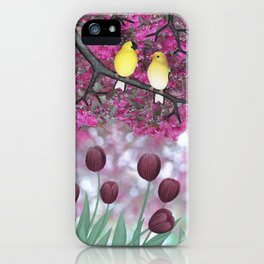 goldfinches, tulips, & flowering crabapple iPhone Case
