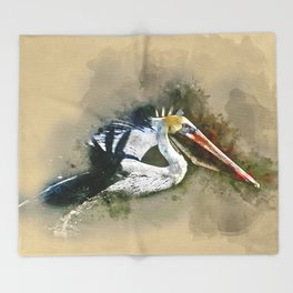 Watercolor Brown Pelican Throw Blanket