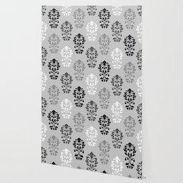Heart Damask Art I Black White Greys Wallpaper