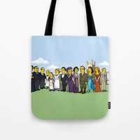 downton abbey Tote Bags featuring Downton Abbey cast by Adrien ADN Noterdaem