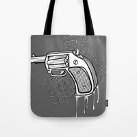 gun Tote Bags featuring Gun by WithoutG