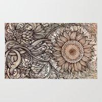 sunflower Area & Throw Rugs featuring Sunflower by Irina Vinnik