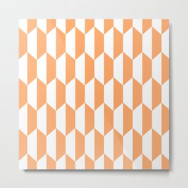 Classic Trapezoid Pattern 731 Orange Metal Print