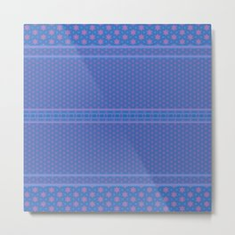 Blue Pink Delicate Patterns Metal Print