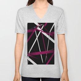Seamless Rose Pink and White Stripes on A Black Background Unisex V-Neck