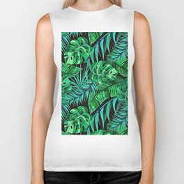 Blue and Green Ferns and Tropical Leaves Biker Tank