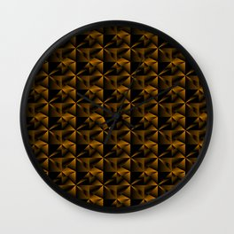 Bright mirror fragments of bronze rhombs and black strict triangles. Wall Clock