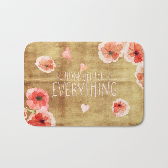 Thank you for everything- Vintage  Flowers Roses floral Illustration Bath Mat