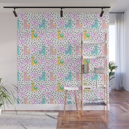 Funny cute teal pink romantic lama black polka dots Wall Mural