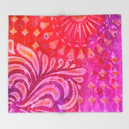Joy in Orange and Purple Throw Blanket