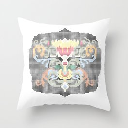 Real Cross Stitchable Pattern -- Renaissance Floral Color Coded Chart Throw Pillow