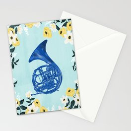 Blue French Horn Stationery Cards